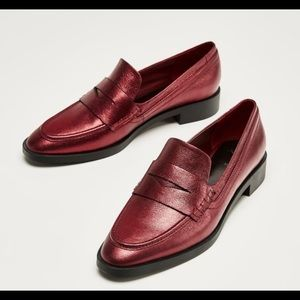 Zara red metallic leather loafers moccasins 7